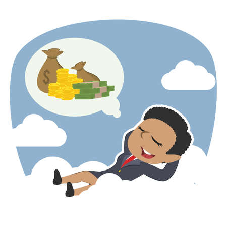 african businesswoman relaxing on clouds thinking about money Illustration