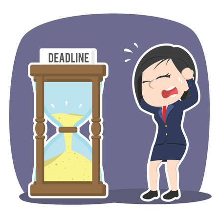 Businesswoman in panic with deadline hourglass vector