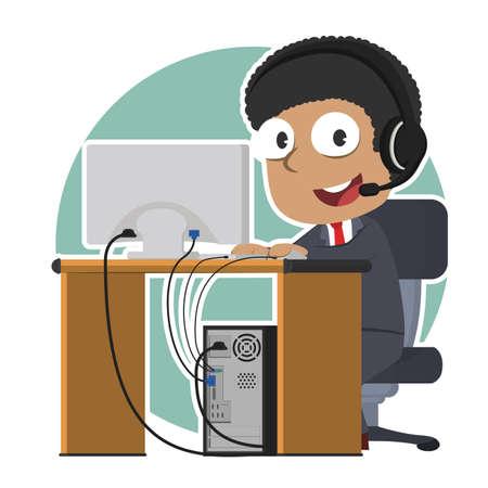 Male phone operator working vector