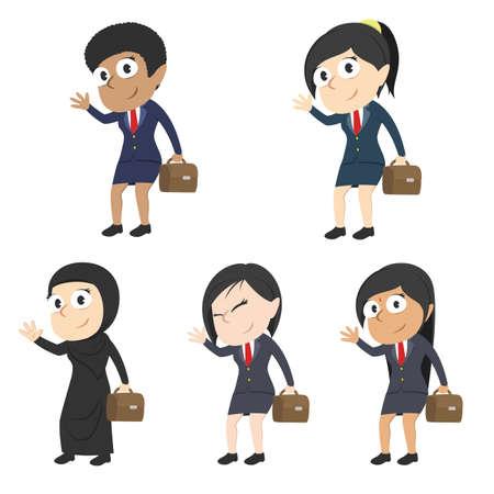 Businesswoman waving hand different race set
