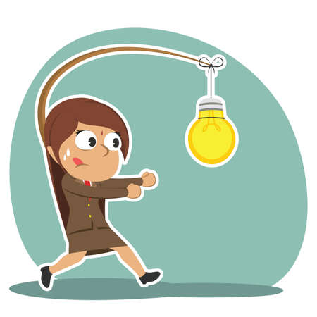 Indian businesswoman is chasing bulb