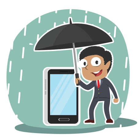 African businessman protecting his phone with umbrella