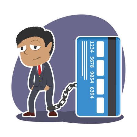 Afrikanischer Geschäftsmann , der mit Kreditkarte angekettet wird Standard-Bild - 90306978