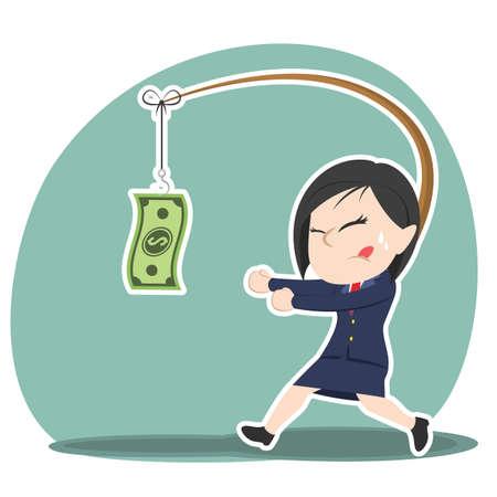 Asian businesswoman is chasing money Illustration