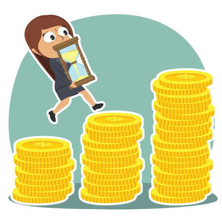 indian businesswoman is climbing coin stairs carrying hourglass
