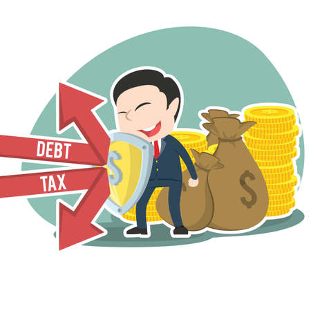Asian businessman protecting his money form debt and tax Asian Businessman Protecting His Money Form Debt Tax Vector Graphics