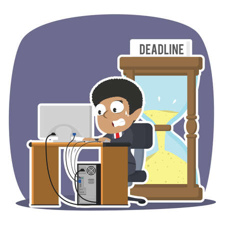 African businessman working in panic with deadline hourglass illustration design African Businessman Working Panic Deadline Hourglass Illustration Design Royalty Free Stock Vectors  Find Similar Images abcvecctor