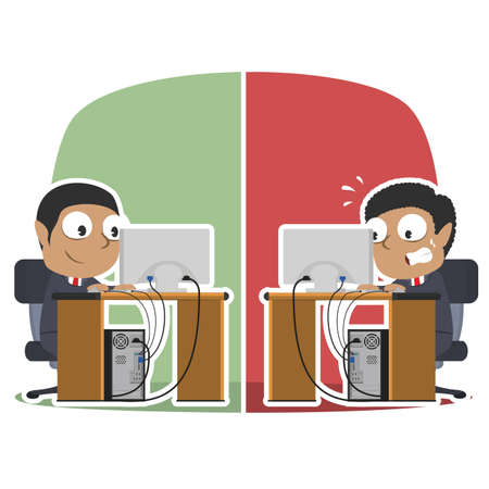 African businessman working in different situation African Businessman Working Different Situation Vector Graphics