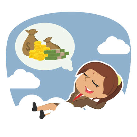 indian businesswoman relaxing on clouds thinking about money