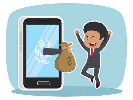 african businessman happy got money from smartphone