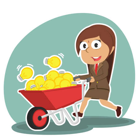 indian businesswoman pushing wheelbarrow full of ideas Illustration