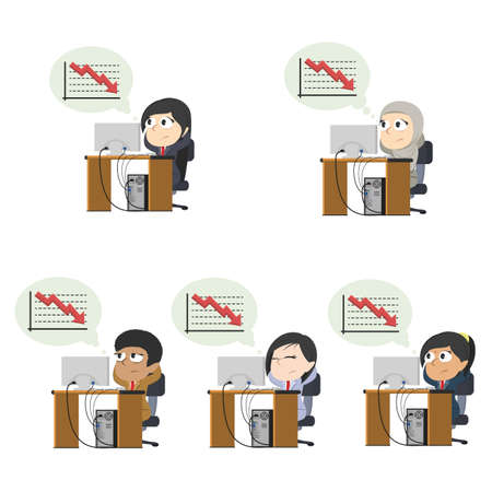 Businesswoman worried thinking about down graph different race set  イラスト・ベクター素材