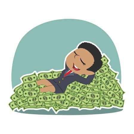 Homme d'affaires africain, dormir sur le lit d'argent Homme d'affaires africain, dormir le lit d'argent Stock Vector