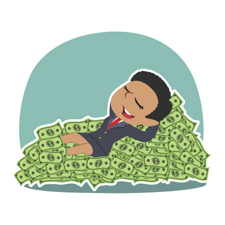 African businessman sleeping on money bed African Businessman Sleeping Money Bed Stock Vector