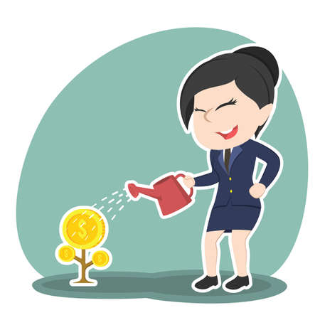 asian businesswoman watering coin tree Illustration