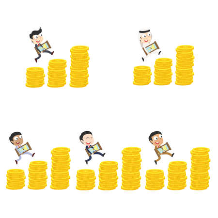 businessman is climbing coin stairs carrying hourglass different race set Illustration