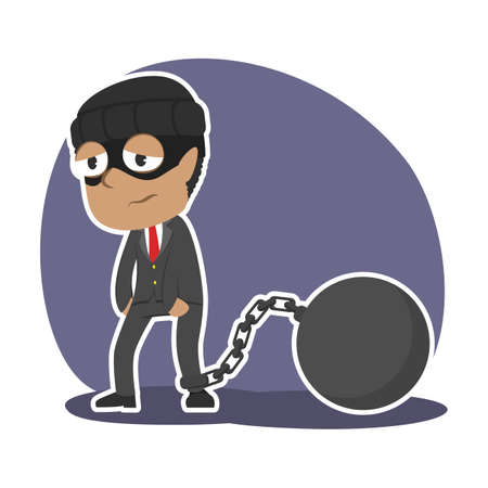 african thief businessman chained with iron ball Illustration