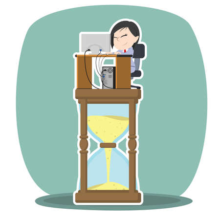 Asian businesswoman is working on hourglass Illustration