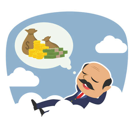 Indian boss relaxing on clouds thinking about money
