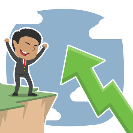Businessman excited see upward arrow from cliff edge Vettoriali