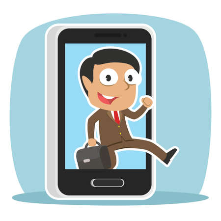 Indian businessman jumping out from smartphone illustration.