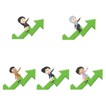 businesswoman is riding on raised graph different race set