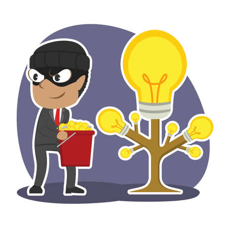 African thief businessman harvesting ideas from someone else idea tree