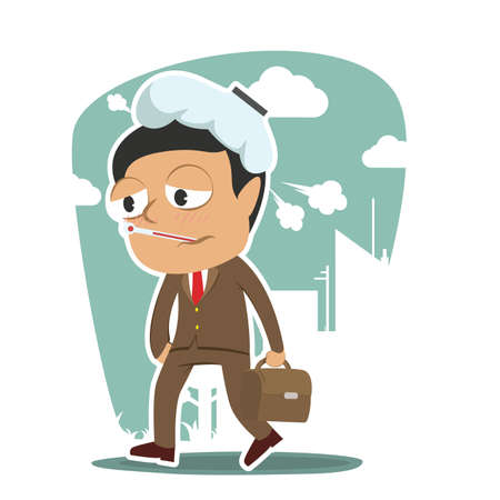 Sick businessman going to work Illustration