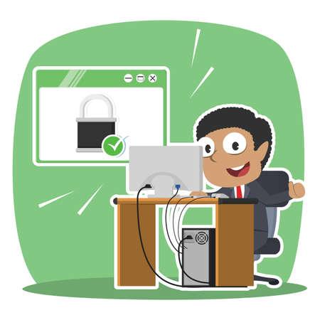 Zakenman voor beveiligde computer