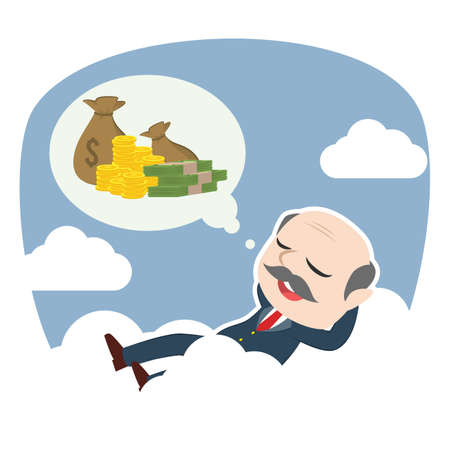 Boss relaxing on clouds thinking about money