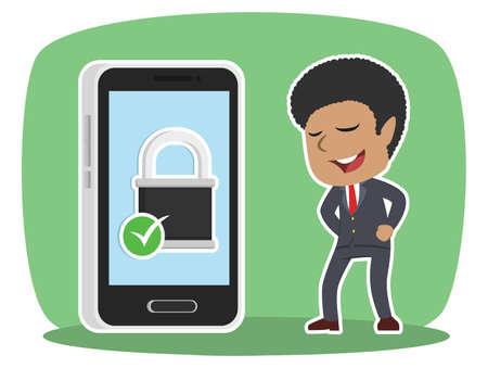 Afrikaanse zakenman met beveiligde smartphone