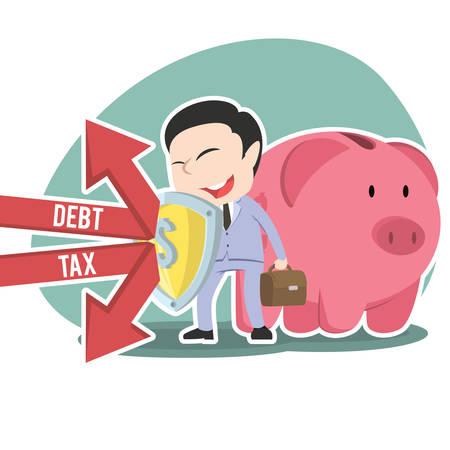 Asian businessman protecting piggy bank form debt and tax