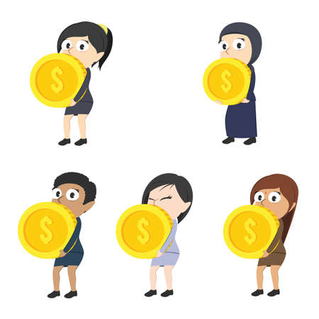 businesswoman carrying giant coin in a different race set