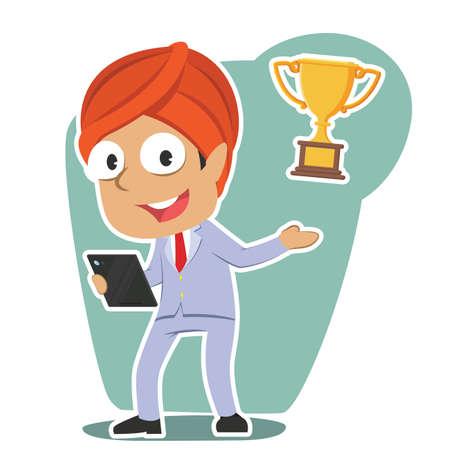 indian businessman presenting trophy