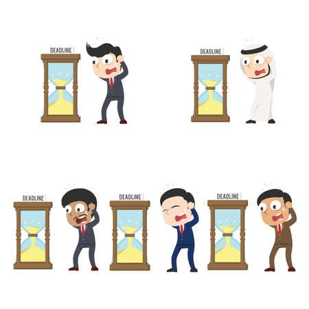 businessman in panic with deadline hourglass different race set Vektoros illusztráció