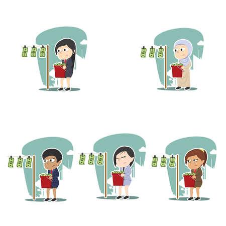 businesswoman drying money different race set Illustration