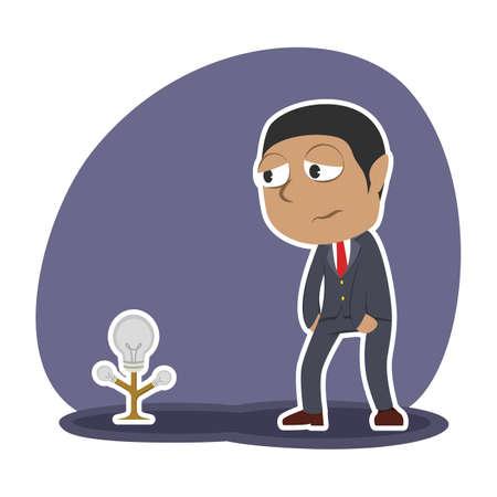 african businessman with dim bulb tree Illustration