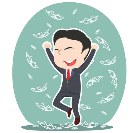 asian businessman raining money