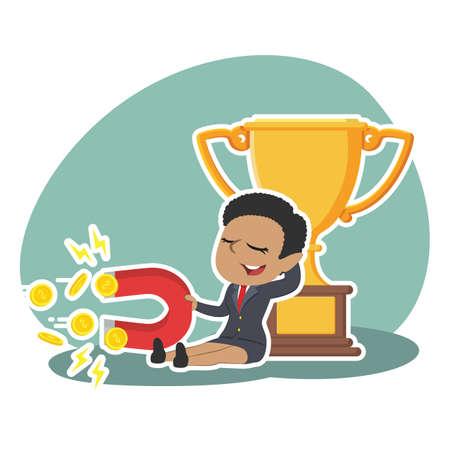african businesswoman beside trophy holding coin magnet illustration design