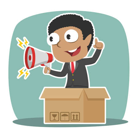 African businessman promoting out of the box