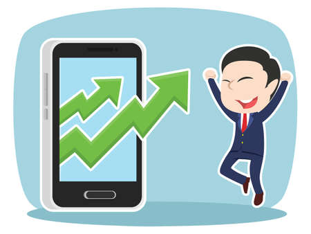 japanese ethnicity: asian businessman with rising graph out from smartphone Illustration