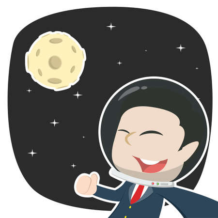 asian businessman selfie in space