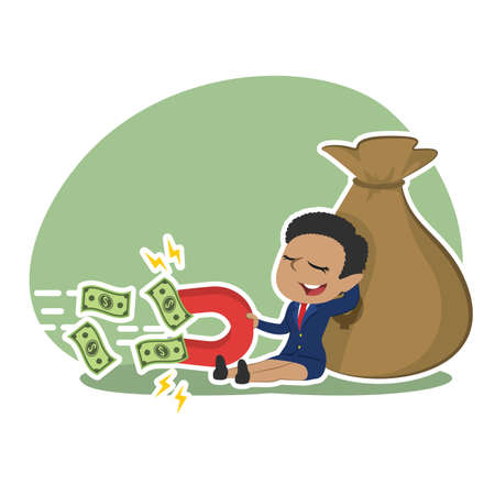 relaxing african businesswoman use magnet to attract moneys Illustration