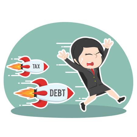 asian businesswoman chased tax debt rocket Illustration