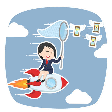 asian businesswoman on rocket chasing flying hourglass