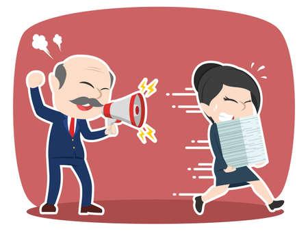Grumpy asian boss yelling angry to his female employee Ilustração