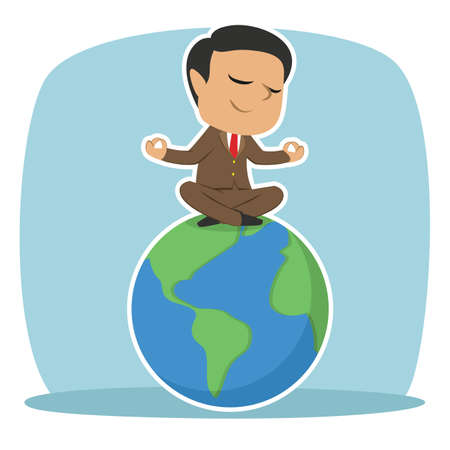 indian businessman meditating on earth Illustration