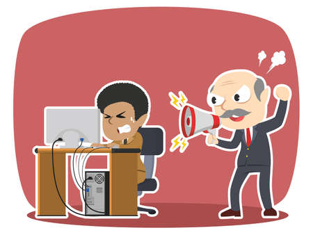 boss yelling to his stressed african female employee Illustration