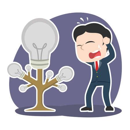 asian businessman panic got his idea tree died
