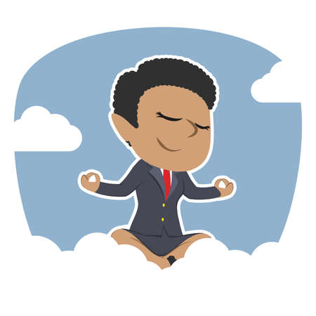 african businesswoman doing yoga on clouds